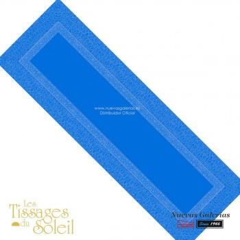 Table Runner Les Tissages du Soleil   Valentina Blue
