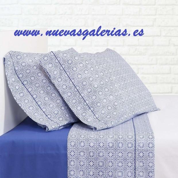 Bassols Completo Lenzuola Siwa Azul   Bassols - 1 Set di lenzuola Siwa Bassols Blu 100% cotone egiziano Capelli mercerizzati 200