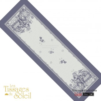 Table Runner Les Tissages du Soleil   Versailles Blue