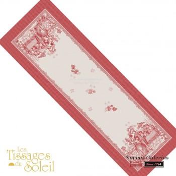 Table Runner Les Tissages du Soleil   Versailles Red
