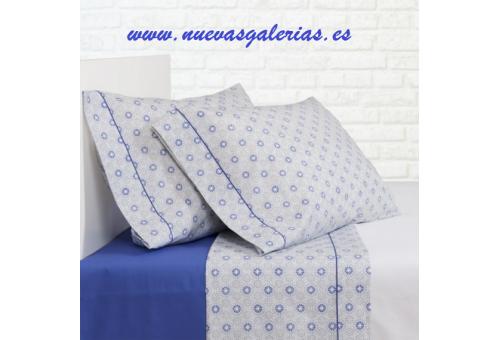 Bassols Completo Lenzuola Ica Azul | Bassols - 1 Set di lenzuola Ica Bassols Blu 100% cotone egiziano a filamenti a mercerizzo 2