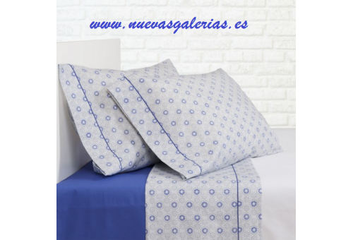 Bassols Sheet Set Ica Azul | Bassols - 1 Sheet Set Ica Bassols Blue 100% Egyptian Cotton Mercerized Hair 200 thread. 3 pieces, Q