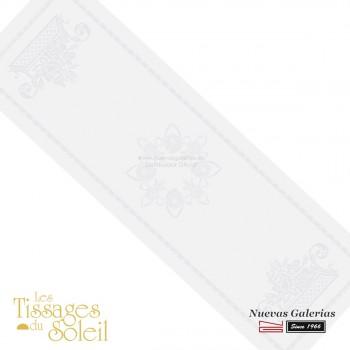 Table Runner Les Tissages du Soleil   Royal White