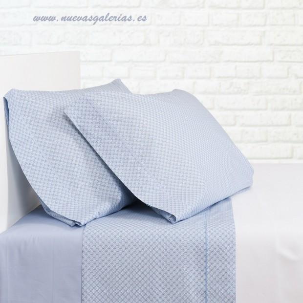 Bassols Sheet Set Palma Azul | Bassols - 1 Sheet Set Blue Palm by Bassols 100% Egyptian Cotton Mercerized Hair 200 thread. 3 pie