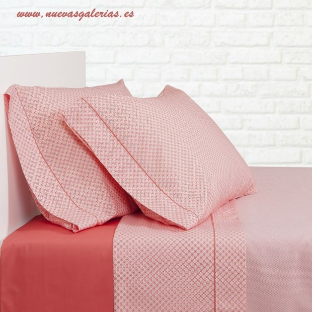 Bassols Sheet Set Palma Coral | Bassols - 1 Sheet Set Palm Coral by Bassols 100% Egyptian Cotton Mercerized Hair 200 strands. 3