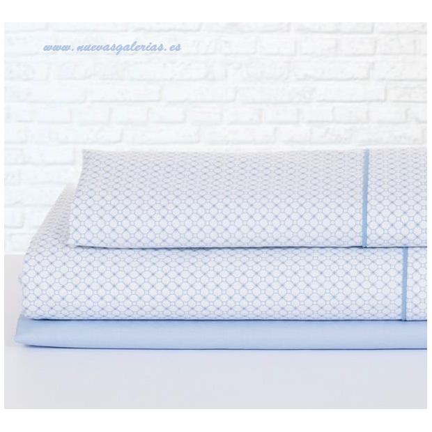 Bassols Sheet Set Mika Azul | Bassols - 1 Sheet Set Mika Bassols Blue 100% Egyptian Cotton Mercerized Hair 200 thread. 3 pieces,