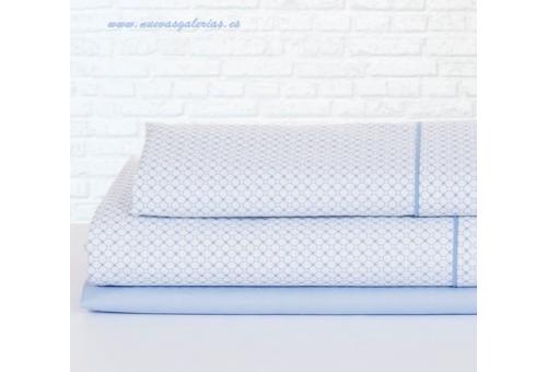 Bassols Completo Lenzuola Mika Azul | Bassols - 1 Set di lenzuola Mika Bassols Blu 100% cotone egiziano a filamenti a mercerizzo