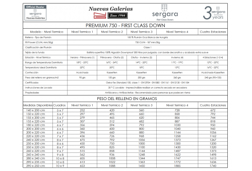 Couette Double Chaleur Premium 750 100% Duvet D'oie | Sergara