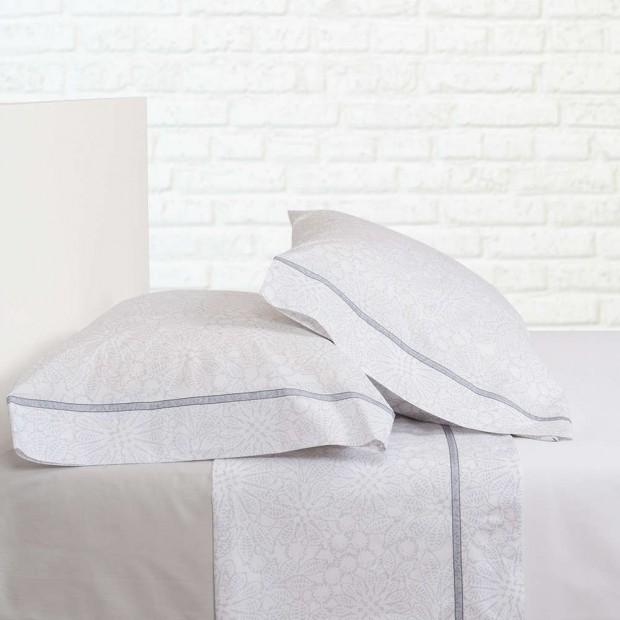 Bassols Completo Lenzuola Clover Gris | Bassols - 1 Set di lenzuola Trifoglio grigio di Bassols 100% cotone egiziano filo di lan