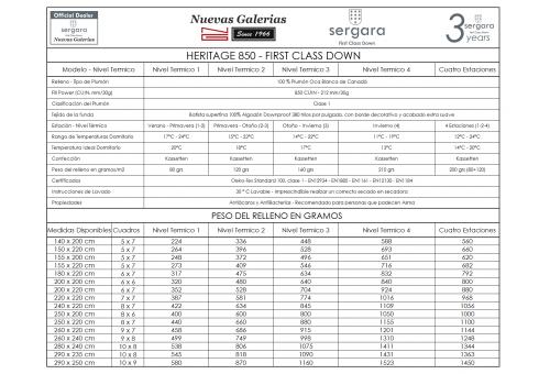 Relleno Nordico Sergara Heritage 850 | Nivel Termico 4