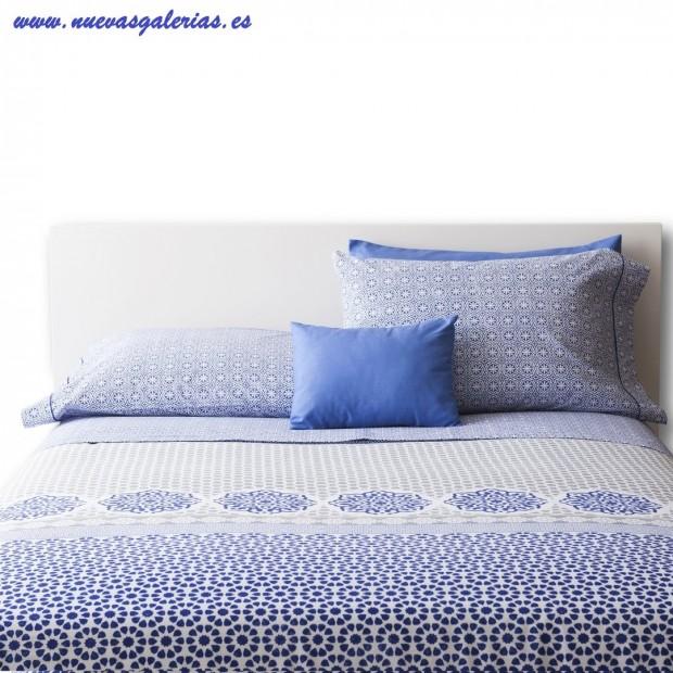 Bassols Funda Nórdica Oasis Azul   Bassols - 1 Funda Nordica Oasis de Bassols 100% Algodón Egipcio Peinado Mercerizado 200hilo