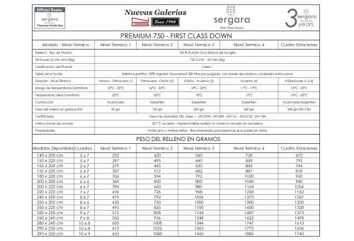 Sergara Premium 750 Oreiller 100% Duvet d´Oie | doux