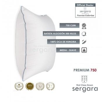 Sergara Premium 750 Oreiller Carré 100% Duvet d´Oie d´oie | doux