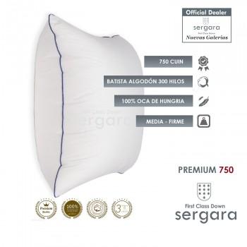 Sergara Premium 750 Oreiller Carré 100% Duvet d´Oie d´oie | Moyen