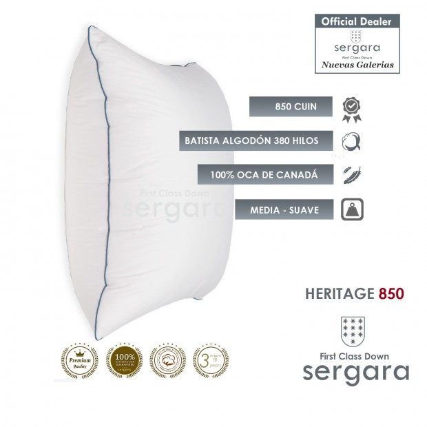 Cuscino quadrato d´Oca Sergara Heritage 850 | Morbido