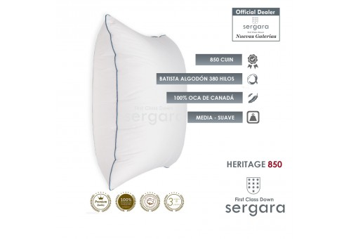 Sergara Heritage 850 Fill Power Square Goose Down Pillow | Soft