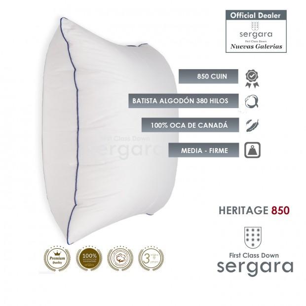 Sergara Heritage 850 Oreiller Carré 100% Duvet d´Oie d´oie | Moyen