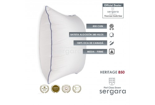 Sergara Heritage 850 Fill Power Square Goose Down Pillow | Medium