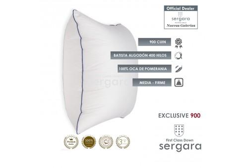 Sergara Exclusive 900 Oreiller Carré 100% Duvet d´Oie d´oie | Moyen
