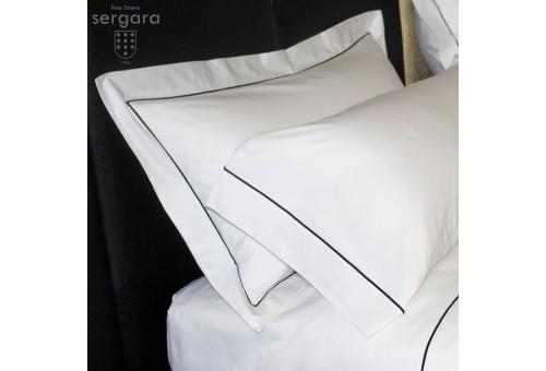 Sergara Quadratische Kissenbezüge 600 Fäden | Grauer Bourdon