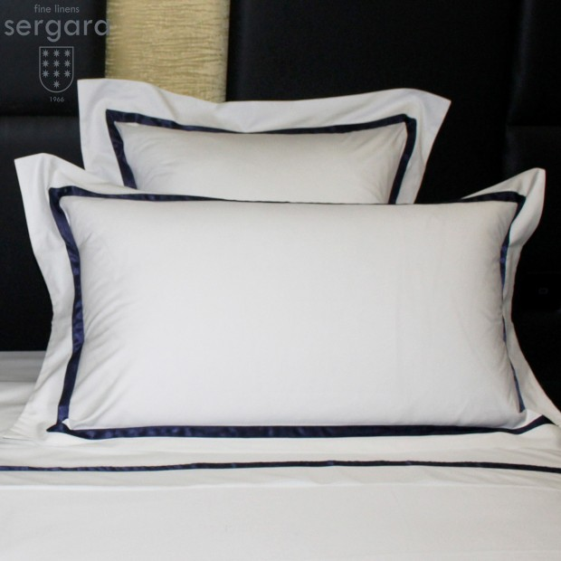 Taie D'Oreiller Sergara de coton Égyptien 600 fils   Illusion Bleu