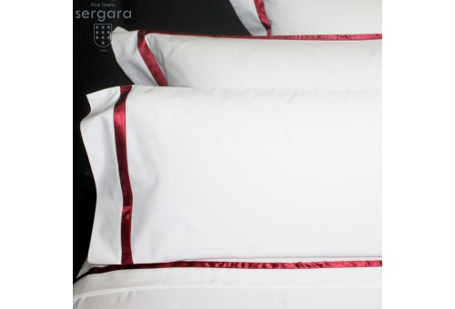 Completo Lenzuola Sergara 600 filo cotone egiziano   Illusion Rosse