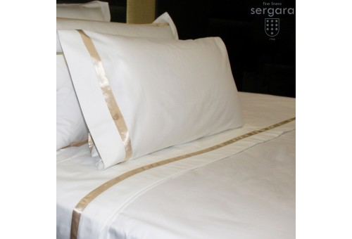 Sergara Sheet Set 600 Thread Egyptian Cotton Sateen | Beig Illusion