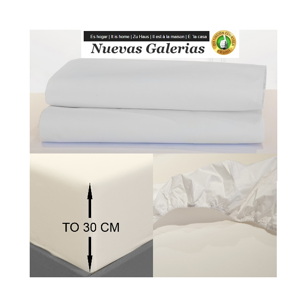 Bassols Fitted sheets Venecia Blanco | Bassols - 1 Fitted sheet Adjustable Venice White Bassols 100% Egyptian Cotton Mercerized