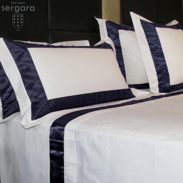Completo Lenzuola Sergara 600 filo cotone egiziano   Bicolor Blu