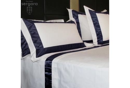 Ensemble de draps Sergara de coton Égyptien 600 fils | Bicolor Bleu