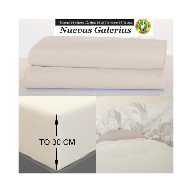 Bassols Fitted sheets Venice Ivory | Bassols - 1 Adjustable Fitted sheet Ivory of Bassols 100% Egyptian Cotton Mercerized 200 th