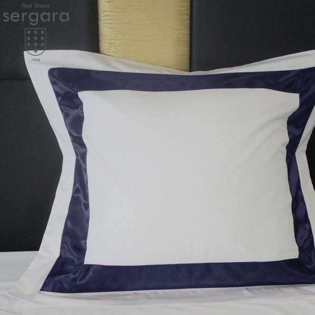 Federe Quadrate Sergara 600 filo cotone egiziano | Bicolor Blu
