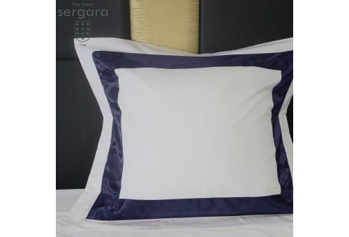 Taie D'Oreiller Carrées Sergara de coton Égyptien 600 fils | Bicolor Bleu