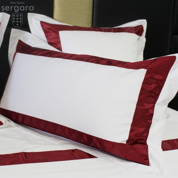 Sergara Sham 600 Thread Egyptian Cotton Sateen | Red Bicolor
