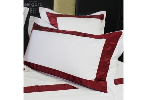 Federe Quadrate Sergara 600 filo cotone egiziano | Bicolor Rosse