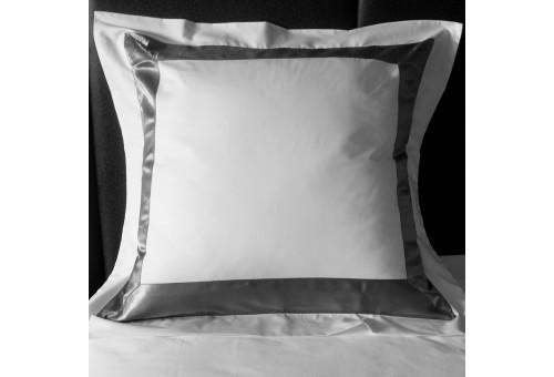 Taie D'Oreiller Carrées Sergara de coton Égyptien 600 fils | Bicolor Grises