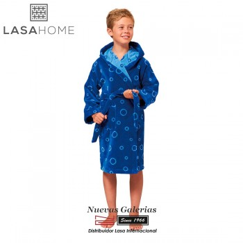Jacquard velvet child's bathrobe with hood | Poppy Blue
