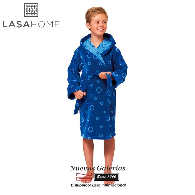 Kinder Bademantel aus Jacquard Velours mit kapuze   Poppy Blau