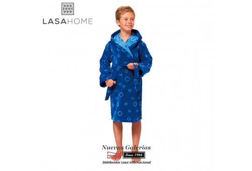 Accappatoio da bambino in velluto jacquard con cappuccio   Poppy Blu