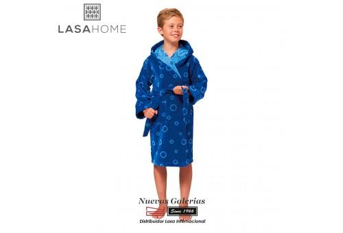Jacquard velvet child's bathrobe with hood | Poppy Blue