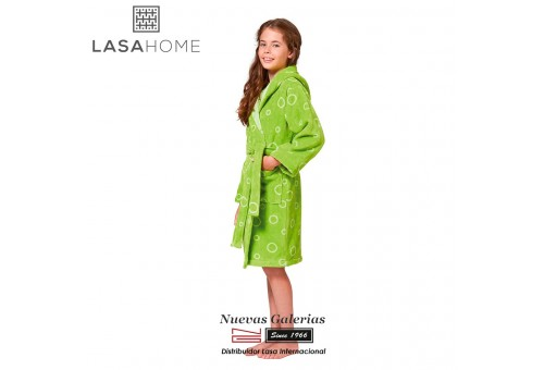 Jacquard velvet child's bathrobe with hood | Poppy Green