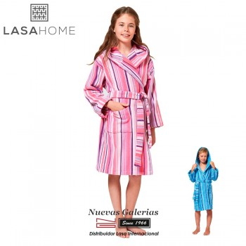Jacquard velvet child's bathrobe with hood | Rubis Pink