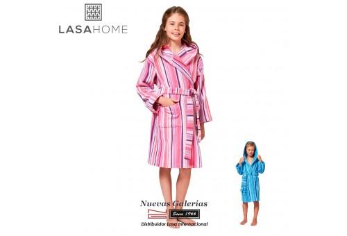 Jacquard velvet child's bathrobe with hood | Rubis Pink