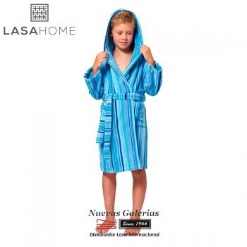 Jacquard velvet child's bathrobe with hood | Rubis Blue