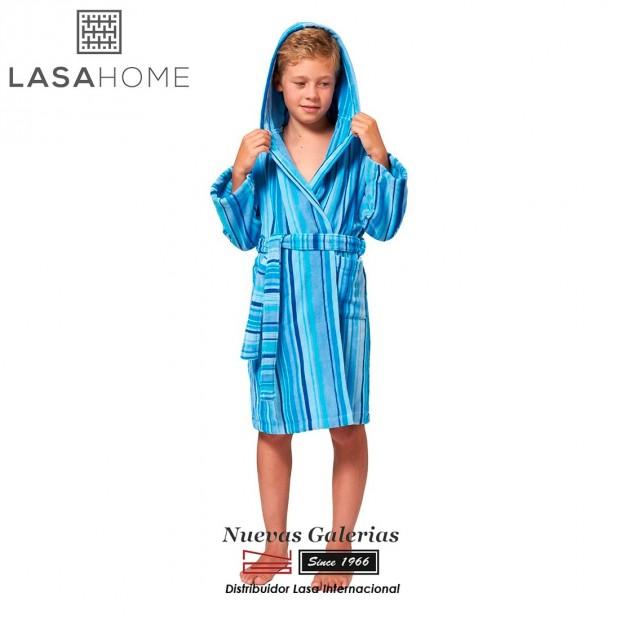 Albornoz Infantil Algodón & Terciopelo Lasaint   Rubis Azul