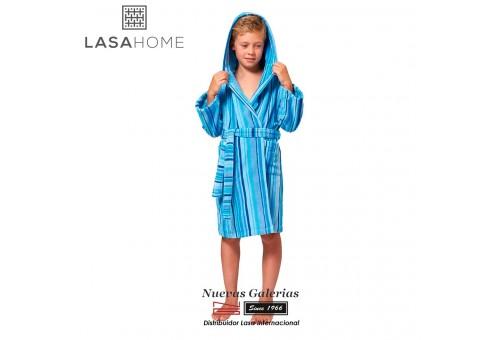 Jacquard velvet child's bathrobe with hood | Rubis Blue