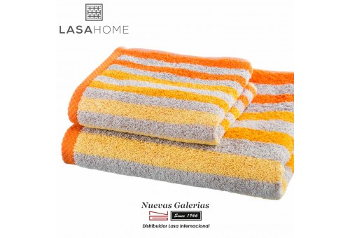 100% Cotton Bath Towel Set Orange| Pure Stripes