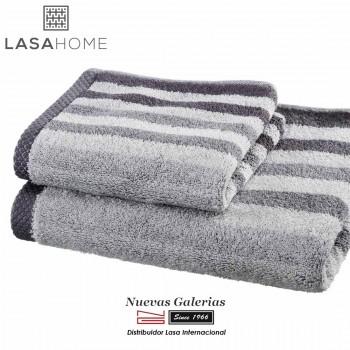 Toalla Gris Algodón Lasaint | Pure Stripes