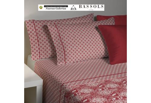 Bassols Completo Lenzuola Bassols | Lily Granate - 1 Set di lenzuola di granato di giglio di Bassols 100% cotone egiziano 200 fi
