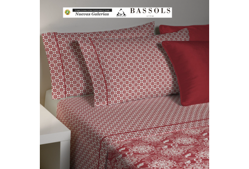 Bassols Sommerbettwäsche Bassetti Bassols | Lily Granate - 1 Sommerbettwäsche Lily Garnet von Bassols 100% ägyptische Baumwolle